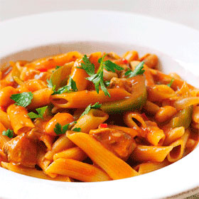 Spicy Pork, Pasta and Beans