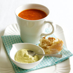 Tomato soup with pesto cream