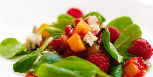 Raspberry, Mango and Stilton Salad