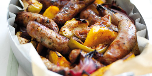 Sausages baked with apples & squash recipe