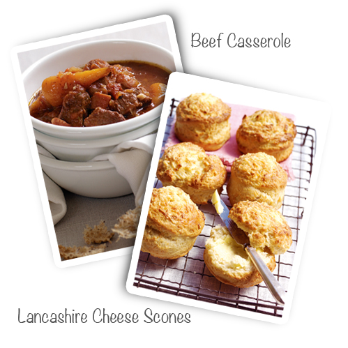 Beef Casserole and Lancashire Scones recipes