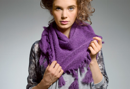 Knit & Stitch Fringed Shawl