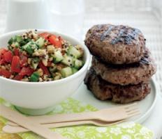 Beef Burgers with Mixed Grain Salad