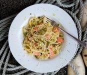 Poached wild Alaska Salmon, Lemon and Tarragon Linguine