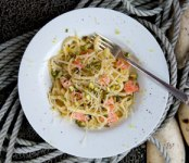 Poached wild Alaska Salmon, Lemon and Tarragon Linguine