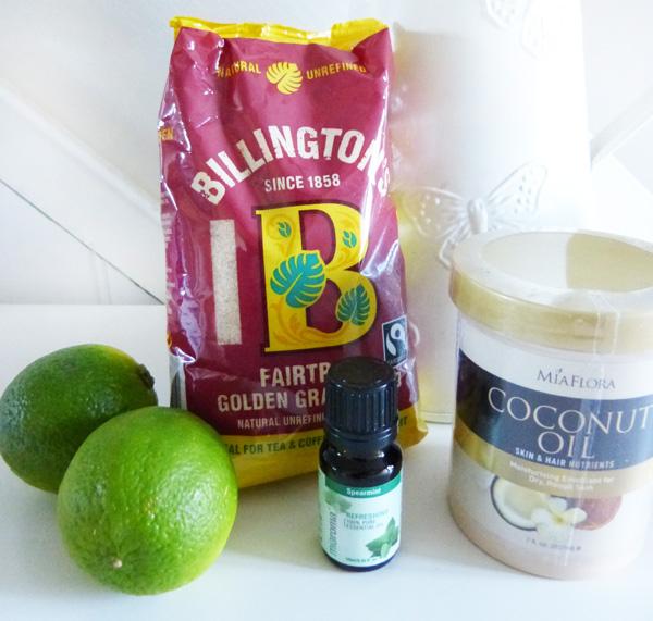 Ingredients for Lime & Mint Sugar Scrub