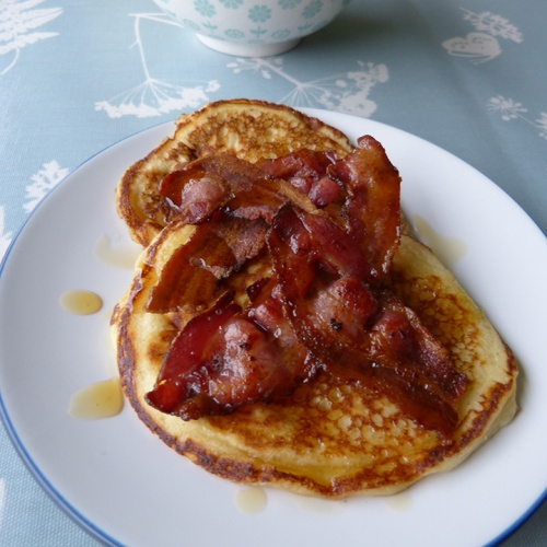 Buttermilk Pancakes with Bacon & Maple Syrup