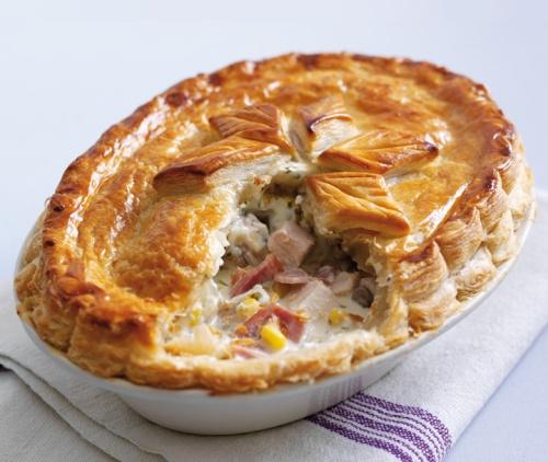 Chicken, Mustroom & Ham Pie