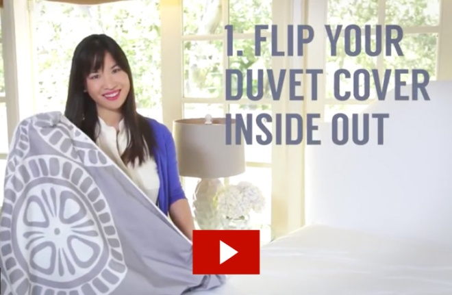 How to fit a duvet cover the Californian way