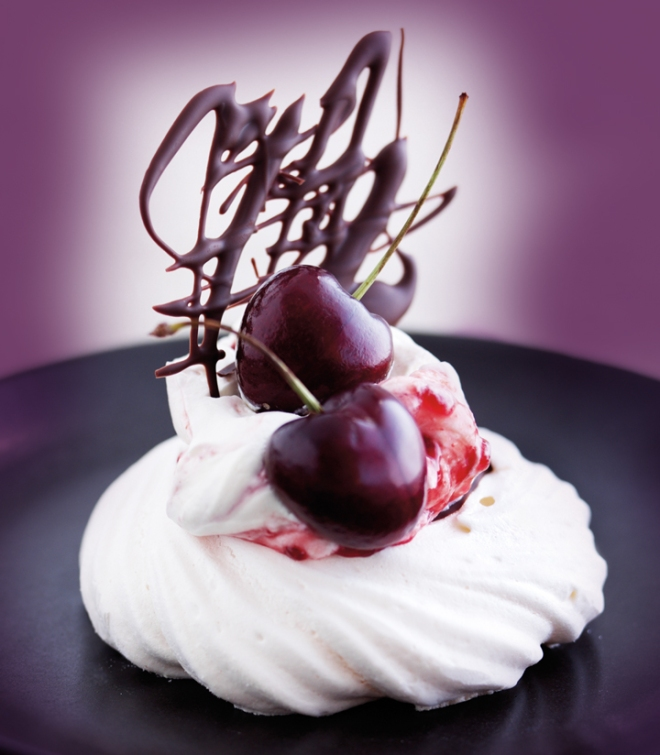Meringue Nests Chocolate Cherries and Cream
