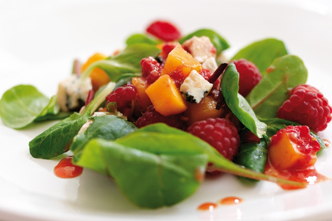Raspberry Mango Stilton Salad