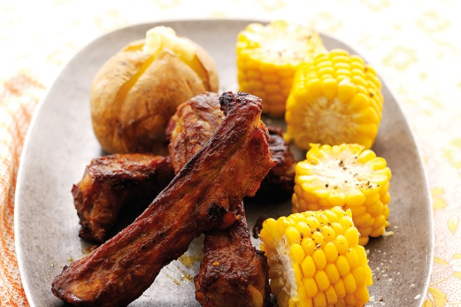 Sticky-Ribs-with-Baked-Potatoes