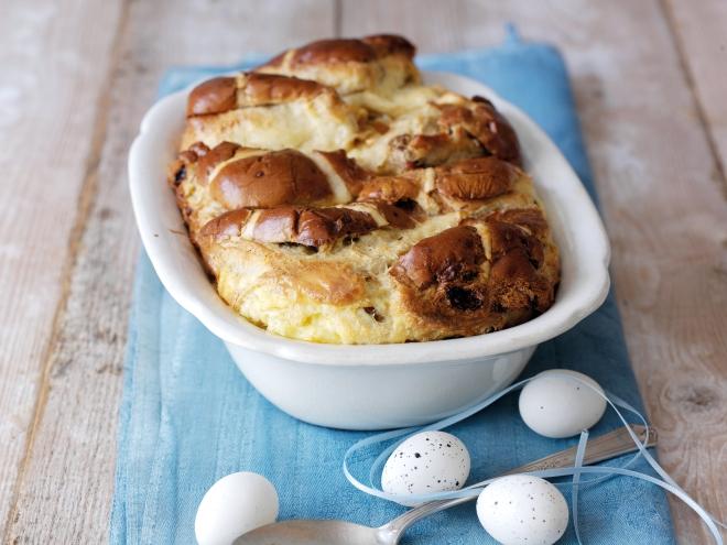 Hot Cross Bun & Butter Pudding