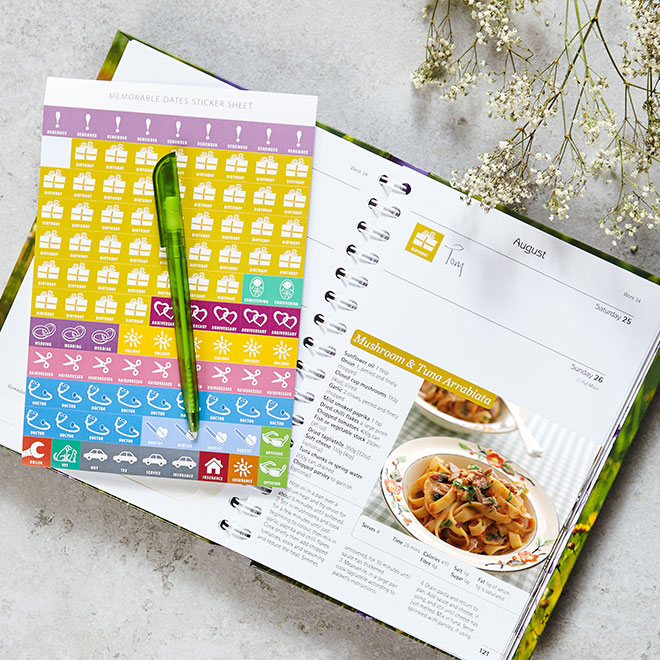 Dairy Diary 2018 with stickers