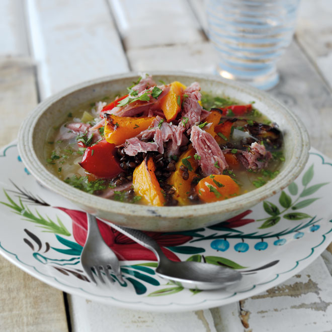 Ham Hock with Roast Squash & Lentils