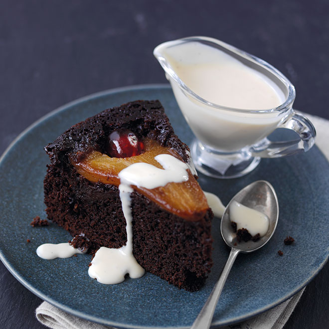 Upside-Down Chocolate Pear Pud
