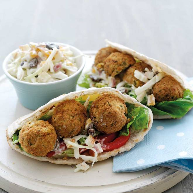 Falafel Pittas with Fruity Crunchy Salad