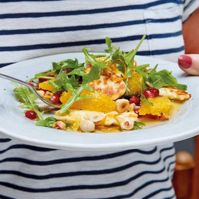 Halloumi Salad with Orange, Pomegranate & Hazelnut